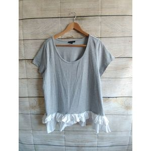 Lane Bryant Gray blouse with White Ruffles